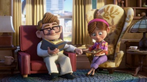 Up: Carl and Ellie share a quiet moment in their early married life.